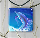 DOLPHIN JUMP IN BLUE WORLD PENDANT NECKLACE 3 SIZES CHOICE -lkj8Z