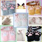 Set Plush Halloween Cat Ears Tail Bow-tie Cosplay Costume Paw Claw Gloves