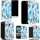 PERSONALISED INITIALS CASE FOR HUAWEI MOBILES - blue raindrops MONOGRAM