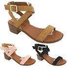 New Women's Ankle Wrap Adjustable Buckle Stacked Chunky Med Heel Sandal sandals