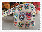 25MM,PRINTED GROSGRAIN RIBBON, SKULLS, DAY OF THE DEAD, CAKES, GIFT WRAP