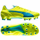 New PUMA evoSPEED 1.4 FG Mens Soccer Cleats : Yellow / Blue