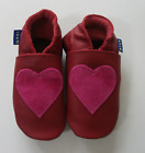 Inch Blue Luxury Leather Soft Sole Baby Shoes - Red/Pink Suede Heart Motif