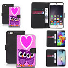faux leather wallet case for many Mobile phones - loveheart owls