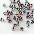 5pcs Czech Crystal Tibetan Silver Round Ball Charm Beads for European Bracelet