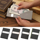 Mens Genuine Leather Money Clip Bifold Slim Wallet ID Card Holder Four Slots