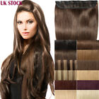 One Piece Clip in Remy Human Hair Extensions Half Full Head Blonde Brown UK A524
