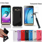 S-Line TPU Gel Case Cover + Tempered Glass Screen Protector For Samsung Galaxy