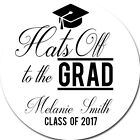 Hats Off To The Grad - 2017 Graduation Personalized Party Favor Round Stickers