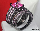 Bridal Pink Sapphire Womens Princess Cut Black 925 Silver Wedding Ring Set