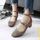 Women Medium Heels Ankle Strap Pumps Double Buckle Boat Shoes Ladies Mary Janes