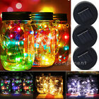 3 Pack 10 LED Fairy Light Solar Mason Jar Lid Lights Color Changing Garden Decor