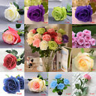 9 Head Real Touch Latex Rose Flowers Artificial Wedding Bouquet Home DIY Decor