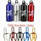 Aluminium Cycling Bicycle Bike Water Bottle Cage Holder + 750ml Water Bottle