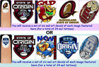 24x STATE OF ORIGIN Nail Art Decals Free Gems NSW QLD Blues Maroons Rugby League
