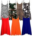 New Womens Plus Size Cami Strappy Plain Tops Long Swing Dress 8-26