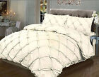 Vintage T180 Percale Luxury Modern Duvet Cover Set In Pintuck Design In Cream