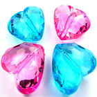 28mm ACRYLIC FACETED HEART BEADS - VARIOUS COLOURS -  B045