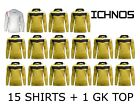 ICHNOS GARA YELLOW ADULT TEAM KIT FOOTBALL SHIRTS (15 PLAYERS + 1 GK TOP)