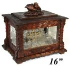 "Antique Black Forest 16"" Tantalus, Cave a Liqueur, Figural Birds, Engraved Glass"