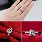 Womens Round Rings Silver Plated Ring Band Cubic Zirconia Fashion Size K L N P S