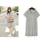 Cotton Pregnant Women Hooded Maternity Dress with Pockets Summer Striped Dresses