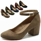 ollio Womens Shoes Faux Suede Basic Chunky Mid Heel Ankle Strap Pump