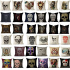 18'' Home Barbarian Style Skull Sketch  Pillow Case Cover Sofa Car Cushion Cover