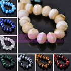 New 10pcs 12X8mm Striped Rondelle Faceted Lampwork Glass Loose Spacer Beads Lot