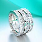 Fine 925 Sterling Silver 3pcs Engagement Ring Set Princess Cut Simulated Diamond