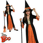 Gothic Witch Girls Halloween Fancy Dress Dark Sorceress Kids Child Costume New