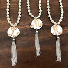 """Monogram Initial Tassel Necklace 30"""" Long Chain Silver Personalized"""