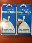 2 Diaper Bags For nursery Nappy Diaper Pamper 75 Disposable Each(2x75)
