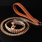 Flat Stainless steel Gold Chain Leather Walking Dog Leash Lead Traning 51INCH