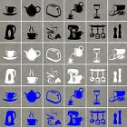 KITCHEN UTENSILS (Set B) Stickers, Waterproof,will work on tiles/glass/ceramics