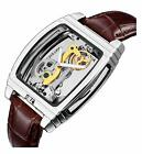 Luxury Men Tonneau Shaped Transparent Automatic Steampunk Skeleton Leather Watch image