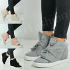New Womens Ladies Bow Wedge Trainers Side Zip Sneakers Casual Shoes Size Uk 3-8
