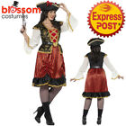 CA293 Curves Pirate Wench Lady Dress Party Costume Buccaneer Captain Carribbean