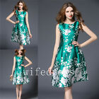 New Green Women's Floral Print Sleeveless Dresses Knee Long Ball Gowns In Stock