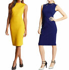 New M&S Navy Blue Mustard Smart Pencil Dress Bodycon Shift Summer Office Party