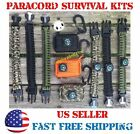 Paracord Survival Bracelet Kit Gear Camping Hiking Emergency Fishing Flint Fire