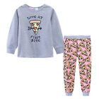 Pyjamas Girls Winter Cotton Knit Pjs (Sz 8-14) Set Grey Pizza Sz 8 10 12 14