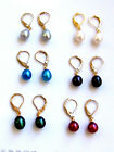 variations color Genuine 8X10mm gilded drip Dangle  Freshwater pearls Earring