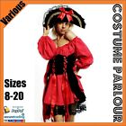 Womens Sexy Red Pirate Wench Medieval Deluxe Fancy Dress Costume Sizes 6 - 20