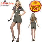 CA318 Ladies Top Gun 1980s Jumpsuit Army Dress Up Military Costume Aviator Pilot