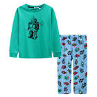 Pyjamas Boys Winter Long Cotton Knit Pjs (Sz 8-14) Set Green Robots (757) Sz 8 1