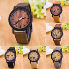Fashion Mens Women Quartz Wrist Watch Leather Stainless Steel Wooden Dial Analog