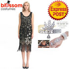 K368 Black Ladies 1920s Roaring 20s Flapper Costume Sequin Gatsby Outfit Dress