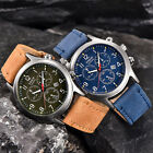 XINEW Mens Leather Band Watches Military Sport Date Waterproof Quartz Wristwatch