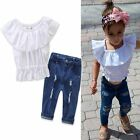 2PCS Toddler Kids Baby Girls Off Shoulder Tops + Jeans Pants Outfits Clothes Set